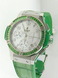 "Hublot Big Bang 41mm Chronograph ""tutti-frutti"" Apple Green MOP LNIB Steel. Asking price: $8988"