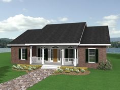 The Farmington Falls Ranch Home has 3 bedrooms and 2 full baths. See amenities for Plan 028D-0006.