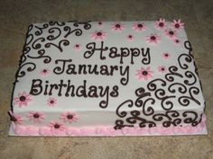 January Birthdays Cake sheet cake with buttercream icing and fondant flowers for all of the January Birthdays at my mom's work Birthday Sheet Cakes, Birthday Cakes For Teens, Teen Birthday, Pink Birthday, Cake Birthday, Happy Birthday, Teen Cakes, Girl Cakes, Pretty Cakes