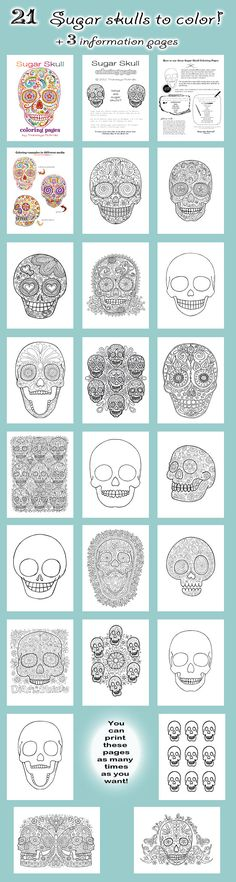 Sugar Skull Coloring Pages. A Printable E-book of 21 Sugar Skull Designs to Color. docent ideas education skull design of dead art project art project Skull Coloring Pages, Colouring Pages, Coloring Books, Coloring Sheets, Adult Coloring, Art Projects, Projects To Try, Sugar Skull Design, Thinking Day