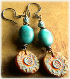 Sunny Orange Polymer Clay Earrings Turquoise by ChrysalisToo, $38.00