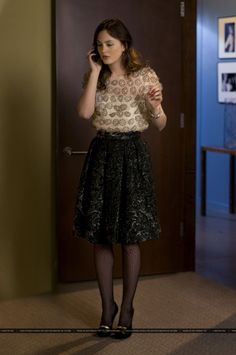 Leighton Meester wearing Bensoni Brocade Skirt and Milly Chiffon Daisy Tee.