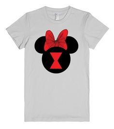 Black Widow Minnie Mouse T-shirt by My heart has ears. Available in Women's, Men's and Children's sizes as well! In a variety of colors and styles! Want to add a name or other text? Just email me for your custom design at Angela@myhearthasears.com