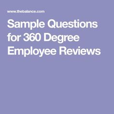 Sample Questions for 360 Degree Employee Reviews