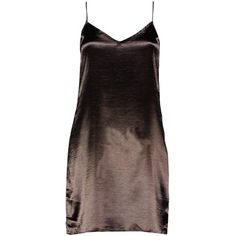 Boohoo Petite Lola Satin Strappy Slip Dress | Boohoo ($16) ❤ liked on Polyvore featuring dresses, strap dress, brown cocktail dress, satin dress, brown dress and boohoo dresses