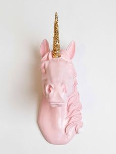 home accessory white faux taxidermy pink pastel pastel pink glitter gold sparkle girly pink unicorn unicorn