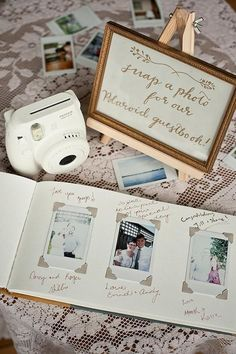 Polaroid wedding guestbook - Not sure how expensive this would be but it's cute