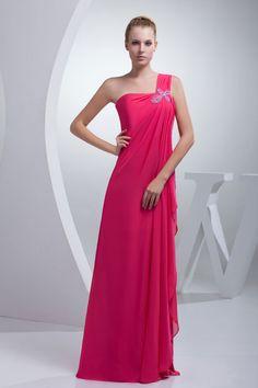 Sleeveless Natural Waist Pleated Crystals Long  Bridesmaid Dress