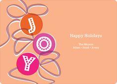Joy Ornaments Holiday Cards - Orange Sherbet