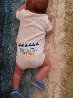 Shark Custom Surfer Baby Onesie / Toddler Tee - BEACH BUM via Etsy