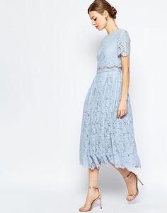 Image 1 ofASOS Lace Crop Top Midi Prom Dress