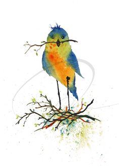 Nesting  Giclee Art Print cute blue love birds red by oladesign, $10.00