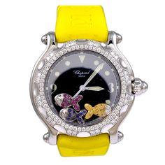 Chopard Lady's White Gold, Steel and Diamond Happy Sport Wristwatch