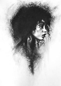 Drawing With Charcoal Black Women Art! – stoekenbroek: Torn, Charcoal drawing on paper - Charcoal Sketch, Charcoal Art, Charcoal Drawings, Charcoal Portraits, Charcoal Black, Shadow Draw, Black Women Art, Black Art, Art Women