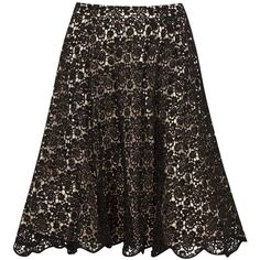 Womens Knee-Length Skirts Alice + Olivia Earla Black Sequinned Lace... ($905) ❤ liked on Polyvore featuring skirts, scalloped lace skirt, alice + olivia, knee high skirts, black lace skirt и lacy skirt