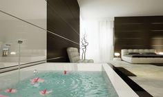bed and bath 3d Architectural Visualization, Bathtub, Bathroom, Architecture, Modern, Bedrooms, Design, Standing Bath, Washroom