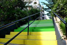 amazing Colored Horizon Steps / an Urban Art Intervention at Marasli Str. Steps, Athens by Atenistas