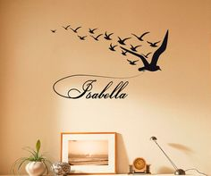 personalized name wall decal custom vinyl sticker birds flock graffiti for boy teen