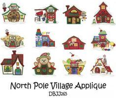North Pole Village Applique Machine Embroidery Designs | Designs by JuJu