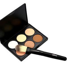 6 Colors Contour Concealer Bronzer Palette + Powder Brush