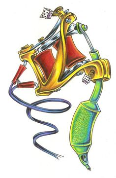tattoo machine drawing - Google-søk                                                                                                                                                     More