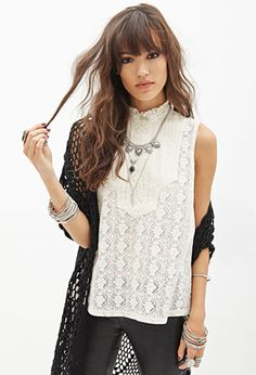 Sleeveless Bib Crocheted Top   FOREVER21 - 2055879593