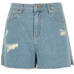 River Island Light blue raw hem distressed shorts (€55) ❤ liked on Polyvore featuring shorts, blue, denim shorts, women, ripped jean shorts, high waisted ripped shorts, destroyed denim shorts, high waisted denim shorts and high rise denim shorts