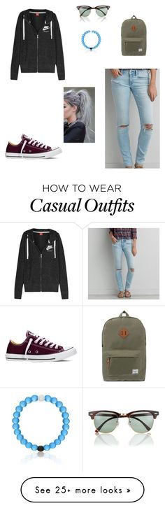 """Casual"" by maciehargis on Polyvore featuring American Eagle Outfitters, Ray-Ban, NIKE, Converse and Herschel Supply Co."