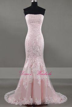Elegant Mermaid pink lace wedding dressStrapless by DorasWardrobe, $219.00