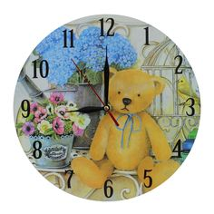 This listing is for one Home Decoration Vintage Style MDF Teddy Bear and Flowers Scene Vintage Style Wall Clock 28 cm. Price £12.99