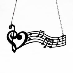 5af61e8898c Music is the Medicine of the Breaking Heart Necklace - Acrylic Music Notes  (C.A.B. Fayre Original Design)