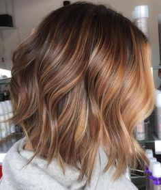 Caramel And Chocolate Balayage Bob