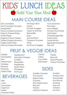 KIDS' LUNCH IDEAS printable