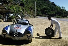 300 SL no. 3 was selected for this test, here seen at the Carrera Panamericana (picture courtesy of Daimler AG)