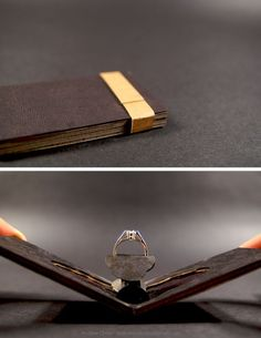 PACKED : ENGAGEMENT RING. Jewel case that could be hidden in a wallet but when presented, has a a surprise element that mimics a flower blossoming. (how awesome is this design!!)