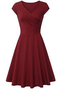 Elegant Dresses, Laksmi Womens Casual Dress A Line Cap Sleeve V Neck