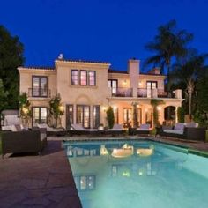 A house with a pool.