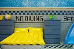 Swimming pool themed bedroom! My son would SO want this if he saw it!