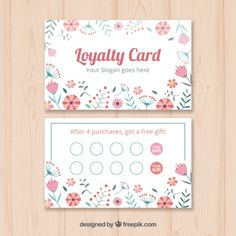 Loyalty Card Design, Loyalty Card Template, Minimal Business Card, Business Card Design, Logo Mano, Estilo Floral, Compliment Slip, Referral Cards, Print Design