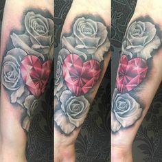 My Roses and Jewel tattoo. Black and grey tattoo. Gem tattoo. Heart tattoo. Rose tattoo. #gemtattoo #rubytattoo #diamondtattoo #jeweltattoo #roses #gem #jewel #blackandgreytattoo