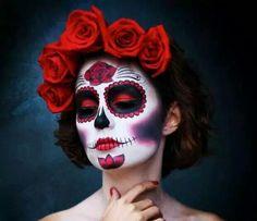 Makeup Face Halloween Day Of The Dead Ideas Halloween Makeup Sugar Skull, Sugar Skull Costume, Sugar Skull Makeup, Halloween Skull, Vintage Halloween, Skeleton Makeup, Halloween Candy, Halloween Costume Couple, Halloween Looks