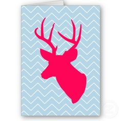 Neon Pink Deer Silhouette Card from Zazzle.com