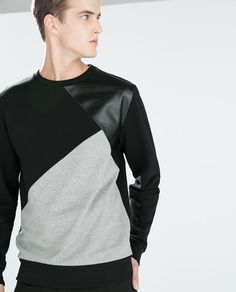 Zara - Sweatshirt With Faux Leather Urban Fashion, Mens Fashion, Zara Man, Mens Sweatshirts, Shirt Designs, Men Sweater, Men Casual, Suits, Clothes