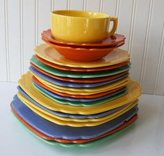 And now for the piece de resistance... a big pile of Homer Laughlin China Riviera Dinnerware