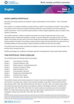 Year 2 work sample portfolio - above satisfactory
