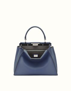 FENDI PEEKABOO REGULAR - borsa a mano in pelle blu mirto