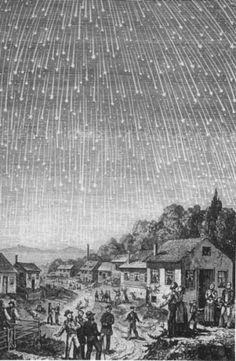 A famous depiction of the 1833 meteor storm, produced in 1889 for the Seventh-day Adventist book Bible Readings for the Home Circle - Credit: Adolf Vollmy