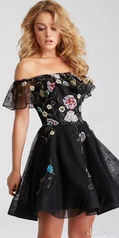 Take part in this season's hottest trends when you arrive wearing this Off the Shoulder Ruffle Sequin Embroidered Homecoming Dress by Jovani. This dress features a stunning off the shoulder neckline with an elegant ruffle overlay and a classic fit and flare silhouette that is sure to get the party started. This style also includes intricate delicate embroidered beading and sequins in a cascading floral print that is sure to stun the crowd. #edressme