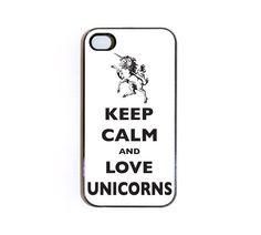 Keep Calm And Love Unicorns iPhone 4 case. $18.99, via Etsy.