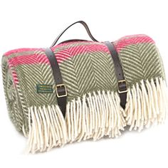 Tweedmill Polo Pure New Wool Picnic Rug with Fringe Leather Straps Fishbone 2 Stripe Olive Rouge Olive Backing Tweedmill Picnic Rugs Tweedmill